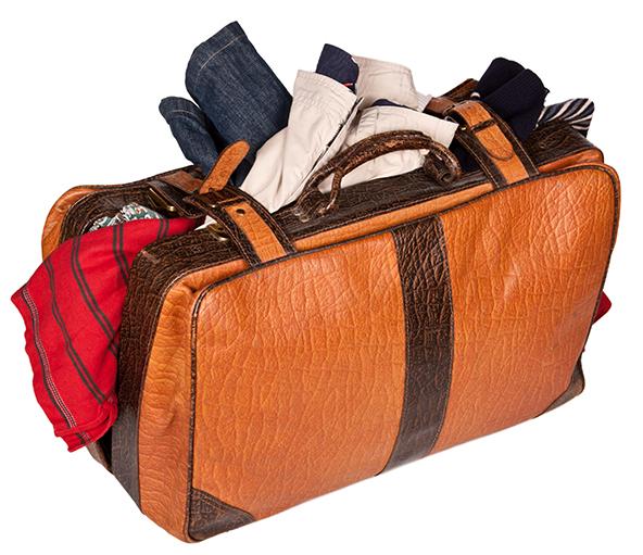 suitcase full of personal belongings